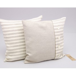 """""""Smilga"""" Pillow Cover with 4 button and striped one part"""
