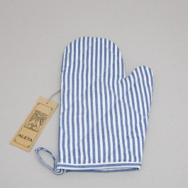 Oven Glove Striped blue with white