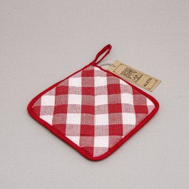 Pot Holder Checked red with white