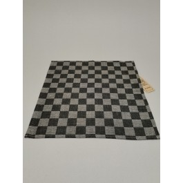 Napkin checked black with natural
