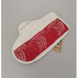 Oven glove natural with red