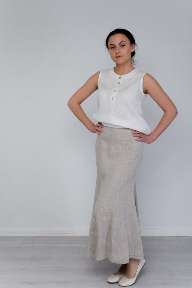 Classic gode long linen skirt
