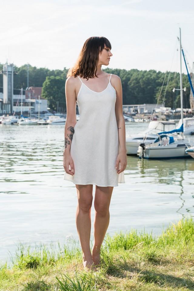 Linen dress with shoulder straps MARTA