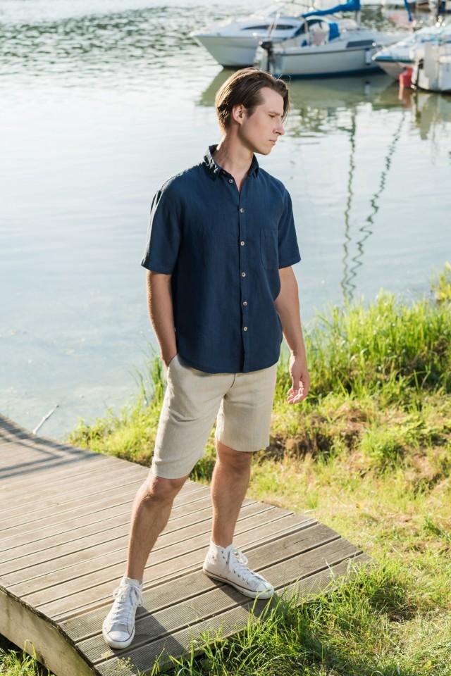 Short sleeve linen shirt with collar FELIX