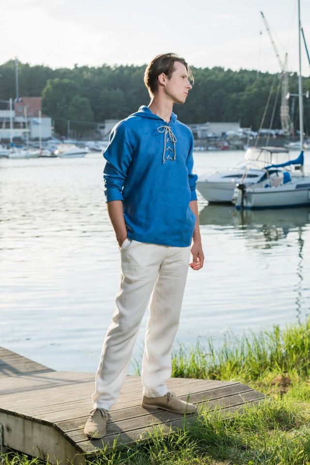 Long sleeve lace-up linen shirt with hood HARI