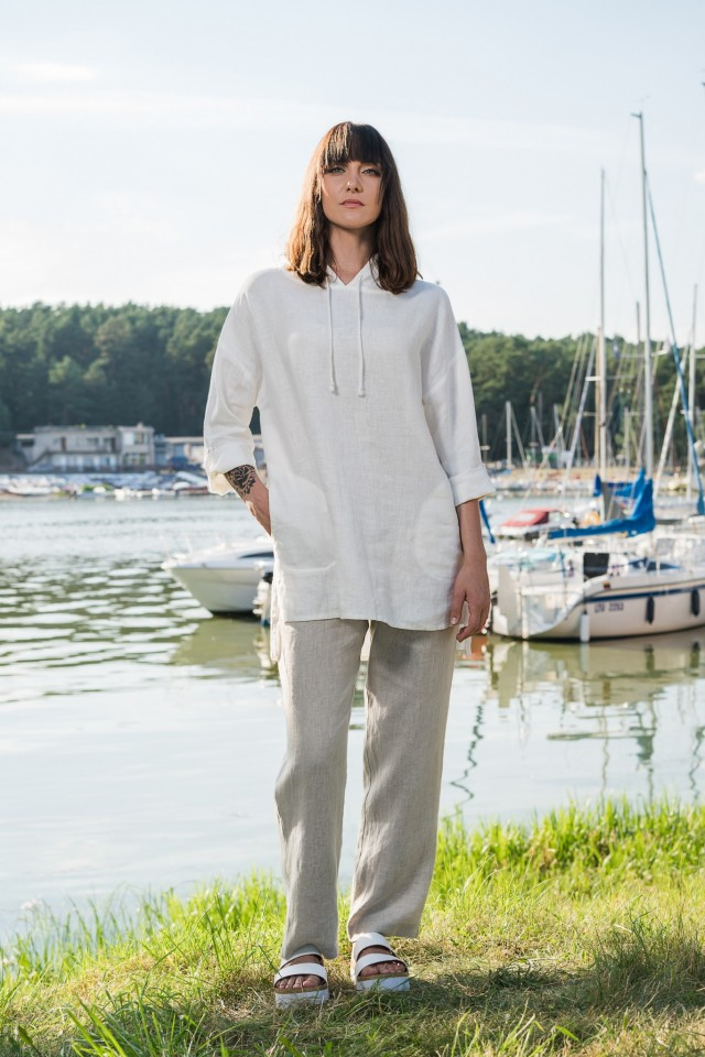 Linen straight trousers with button RITA