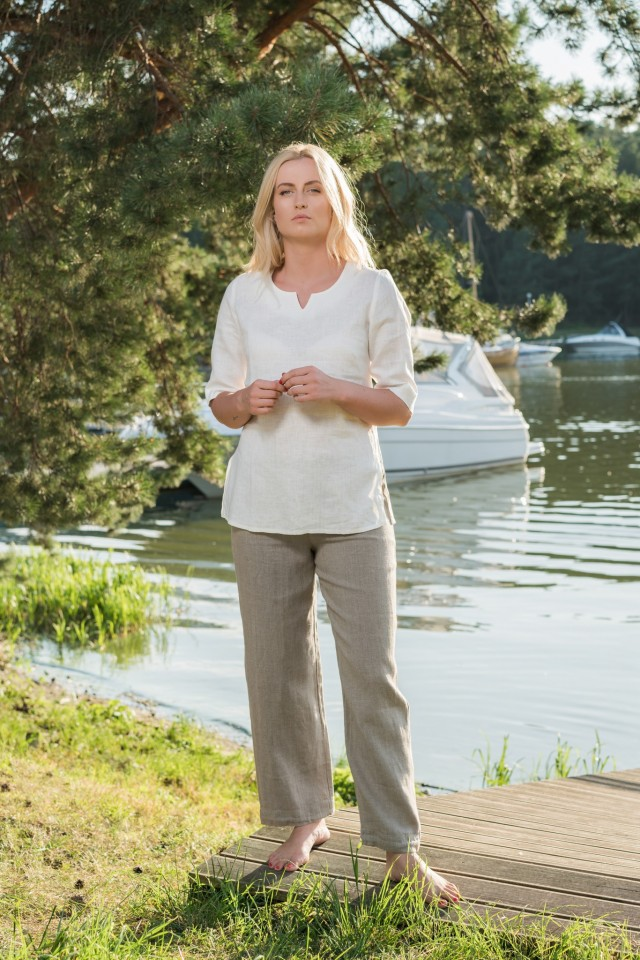 Linen straight trousers with cuffed bottoms JOLANTA