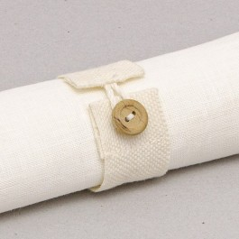 Napkin ring from ribbon, with cord loop and wooden button